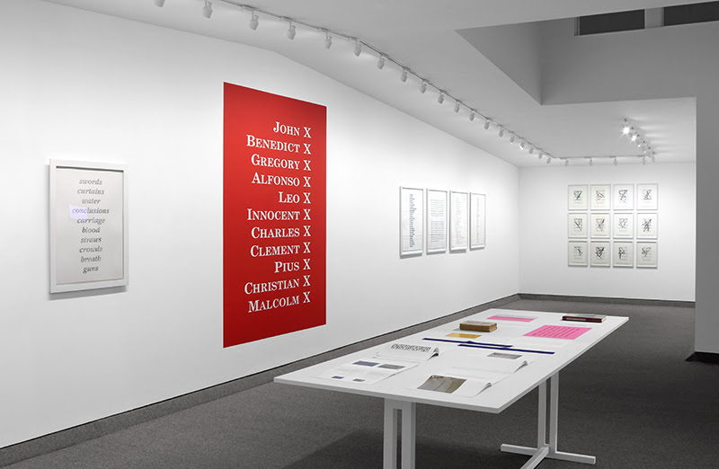 """Kay Rosen, installation view of """"Lists, 1989-2021"""""""
