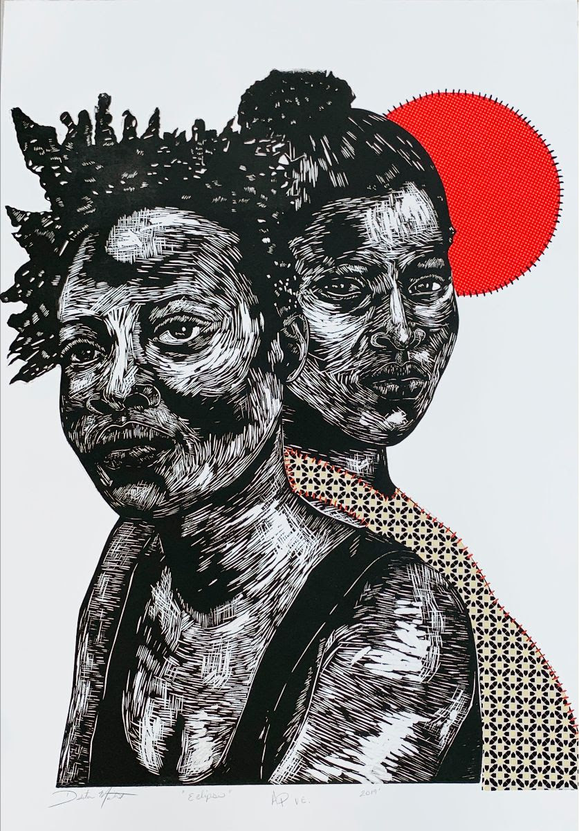 fine art print image of two women by Delita Martin, Eclipse, 2019, relief, decorative paper, hand stitching