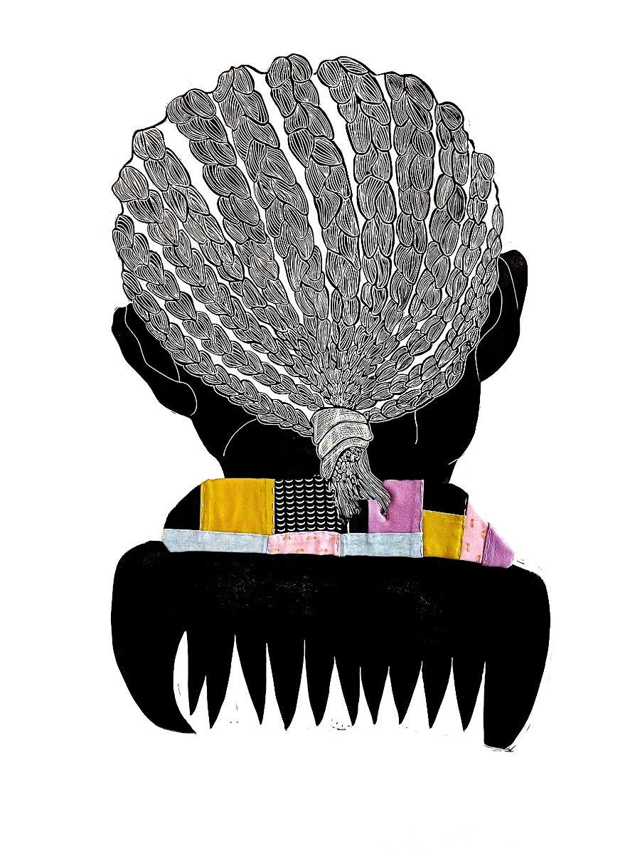 fine art print image of braided hair Tanekeya Word, tender: a sisterhood anthem, (B-side) fig. 006, 2021, linocut, relief ink, watercolor, ink, gouache, hand quilting