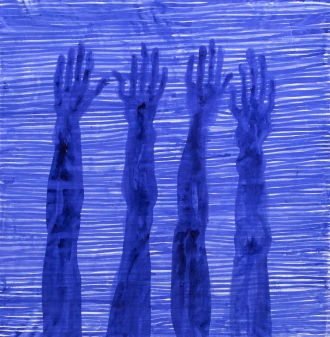 Barthélémy Toguo, Partage VII, 2020. Ink on canvas. 205 x 195 cm. © Barthélémy Toguo / Courtesy Galerie Lelong & Co. and Bandjoun Station