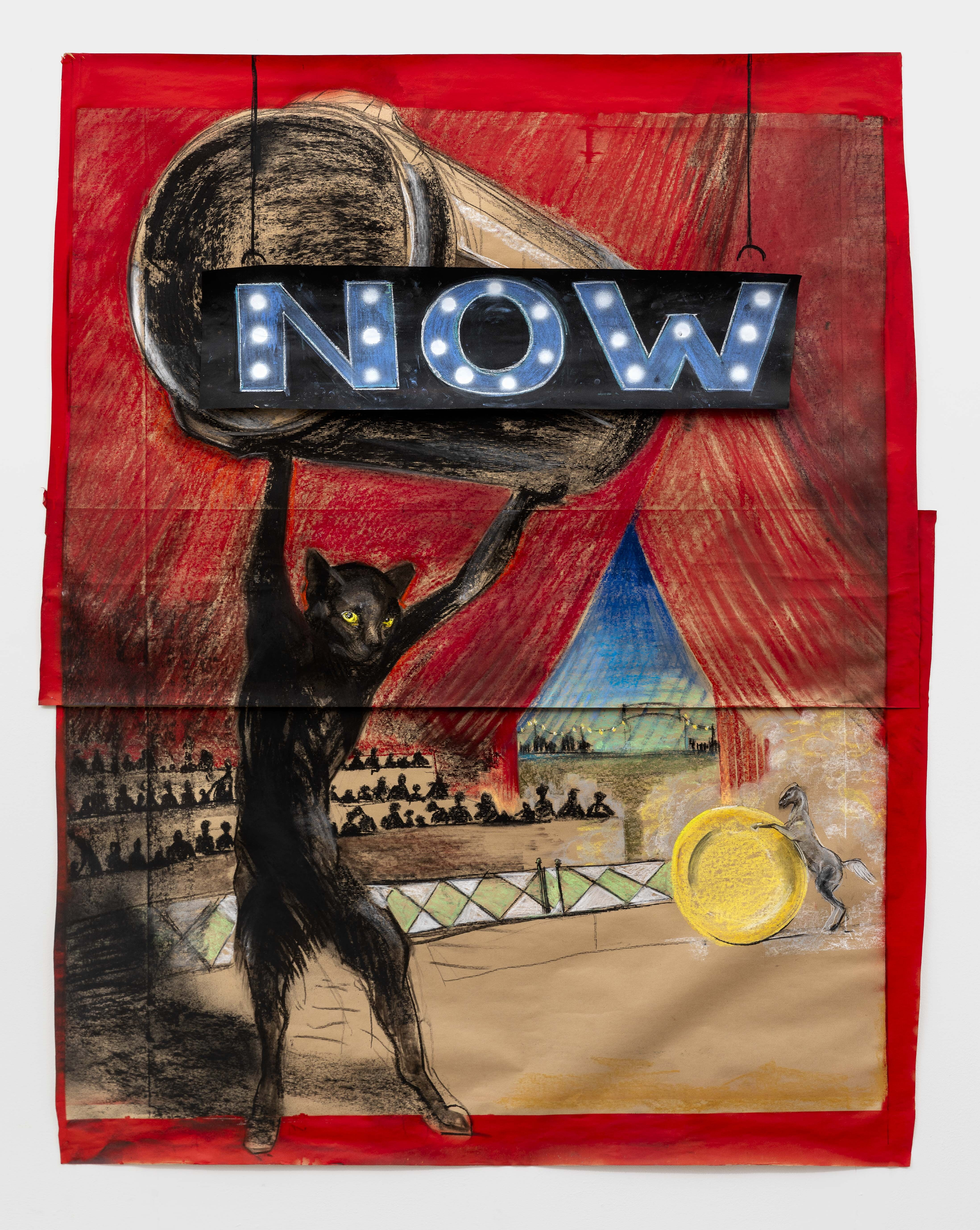 fine art work on paper showing a black cat holding a circus light that says NOW