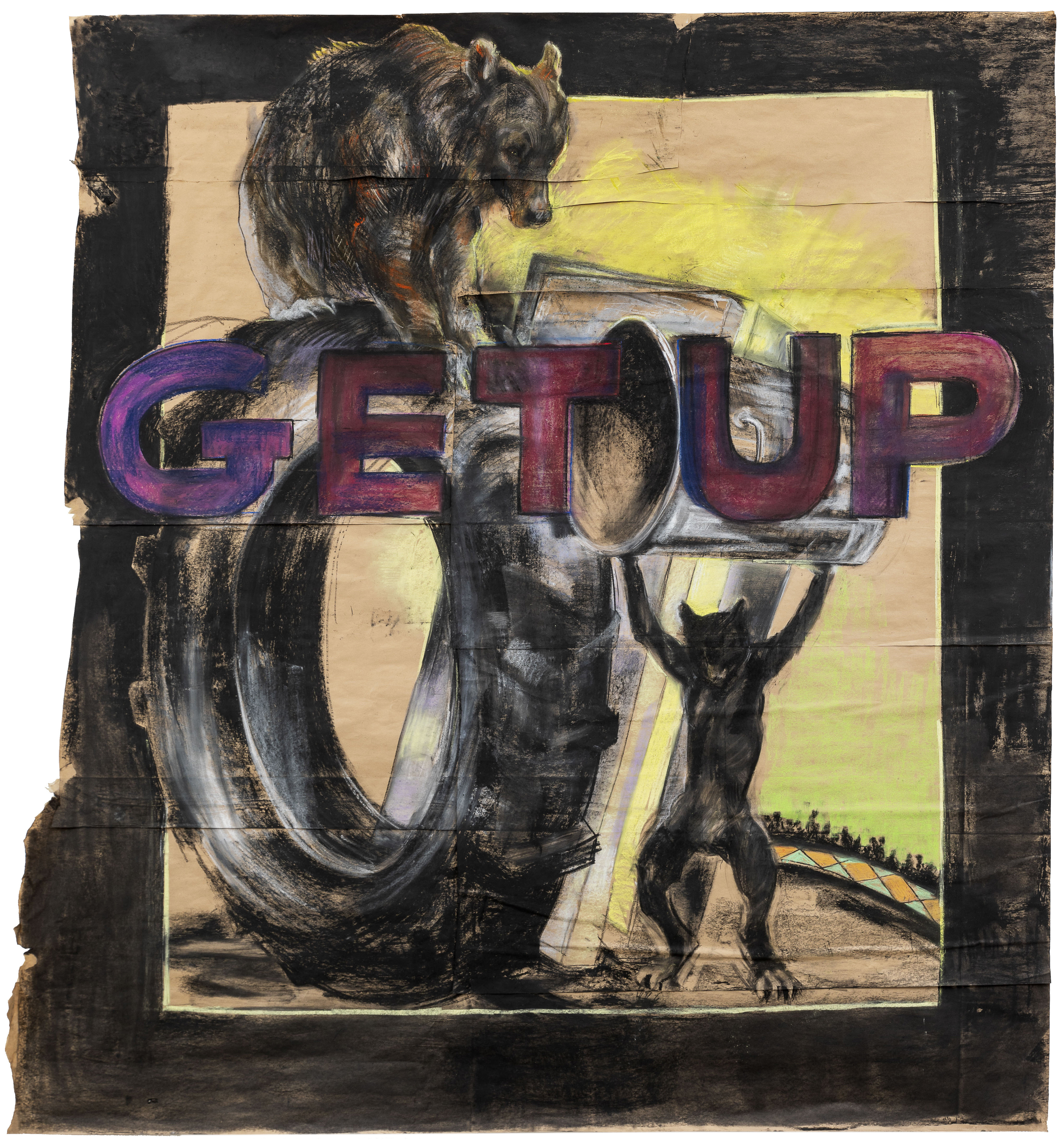 fine art work on paper showing a black cat holding a garbage can above its headand a bear on a tire and read GET UP
